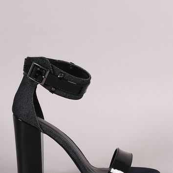 Open Toe Buckled Ankle Strap Heel