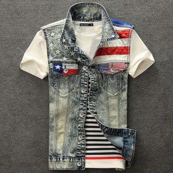 Motorcycle Mens American Flag Denim Vest