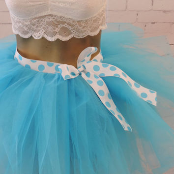 Adult tutu, turquoise blue polka dot tutu, ribbon tie tutu, rave edc edm tutu skirt, photo prop party tutu, special occasion