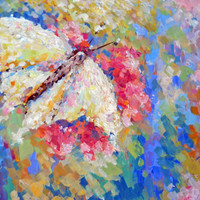Whimsical Abstract Butterfly Pink Blue Palette knife Pastel Bright Colors Modern Contemporary Art Blossom Original Artwork Russian Painter