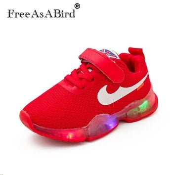 New Sports LED running colorful lighting kids sneakers Spring Autumn Children's Light shoes School girls boys children shoes