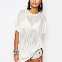 Stitch & Pieces Oversized Knitted Longline T-Shirt
