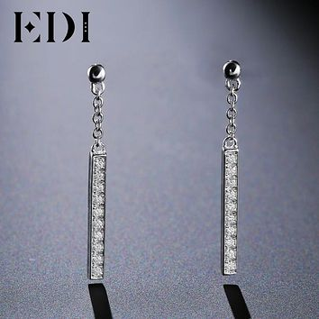 EDI Classic Natural Diamond Real 18k White Gold Drop Earrings For Women Jewelry