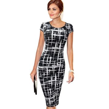 Printed Wear to Work Office Business Casual Pencil Midi Dress