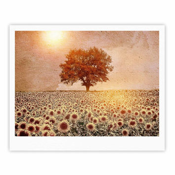 "Viviana Gonzalez ""Lone Tree & Sunflowers Field"" Sunny Nature Fine Art Gallery Print"