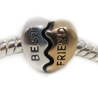 Gold Best Friend Heart Charm Bead Fits Pandora and Other Braceleta