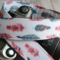 dSLR Camera Strap - White Retro Feathers- Preppy Camera Strap