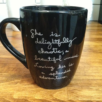 beautiful mess - quote mug / coffee cup, coffee mug , custom and personalized mug
