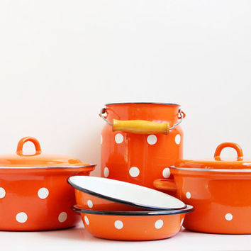 Vintage Milk Can, Polka Dot Milk Pail, Red Orange Enamel Bucket, Shabby Dotted Can, Rustic Home Decor, USSR era on the 1970s, Tin Tableware