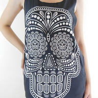 Skull Shirt -- Skull Rock Shirt Day Of The Dead Art Skull T-Shirt Women Tank Top Singlet Skull Tunic Vest Sleeveless Black T-Shirt Size M
