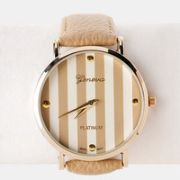 Beverly Hills Striped Watch In Khaki