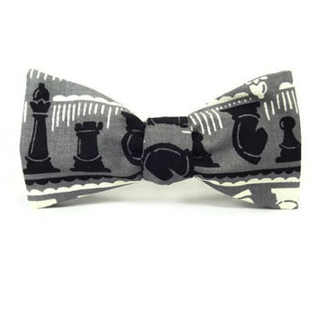 Chess bowtie, Chess pieces, Knight Rook Pawn, grey black white, game bowtie, chess gift, Black chess bowtie, black grey bowtie