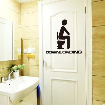 Innovation Downloading Quote WC Toilet Decal Wall Mural Art Decor Funny Bathroom Sticker Vinyl (Color: Black)