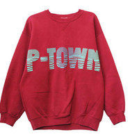 Vintage 90s P-Town Provincetown, MA Crewneck Sweatshirt | Adult Size Extra Large XL | Massachusetts Shirt Tee Retro 1990s 1980s 80s