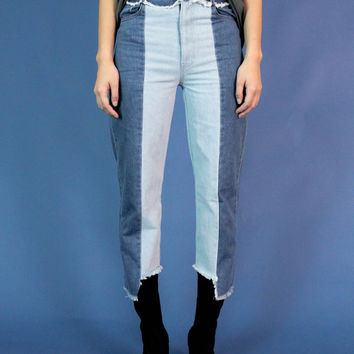 Two Tone Reconstructed Uneven Hem Denim Jeans