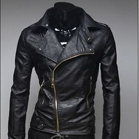 Jeansian Mens Designer PU Faux Leather Jackets Coats Shirt 2 Colors 4 Sizes 8912