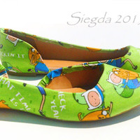 Adventure Time-Finn-Jake-Women green flats-geek wedding-summer shoes-gifts for her-geek chic-custom shoes