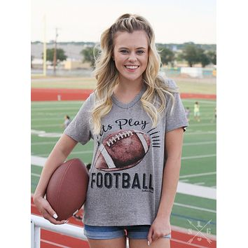 Let's Play Football on Grey Striped Short Sleeve V-neck