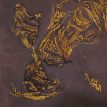 Original Modern Purple and Gold Abstract Wall Decor