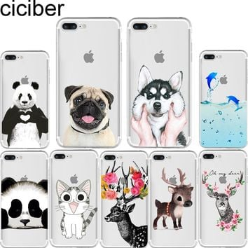 ciciber Fashion Animals Cat Dog Pug Deer Panda Print Soft silicone TPU phone Cases Cover for IPhone 6 6S 7 8 Plus 5S SE X Fundas