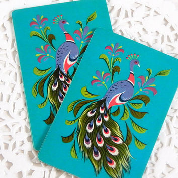 Vintage Playing Cards. Deck Of Cards. Vintage Game Cards. Peacock Card. Teal Cards. Embellishment. Scrapbook Ephemera. Journal Supply.