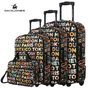 "DAVID JONES Lightweight Vintage Print 4 Piece Luggage Set 20"" 24"" 28"" & cosmetic case"