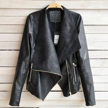 PEAPIX3 Women Leisure Tops Jacket Female Lapel Blazer PU Leather Punk Zipper Coat european outwears