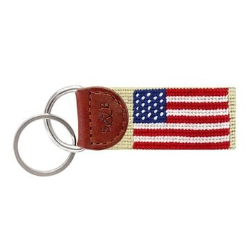 American Flag Needlepoint Key Fob in Light Khaki by Smathers & Branson