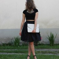 Black Fishnet Box Pleat A-Line Skirt