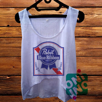 Pabst Blue Ribbon Logo crop tank Women's Cropped Tank Top