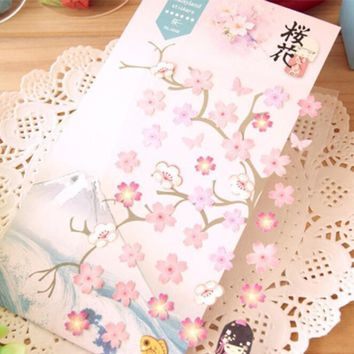 1pcs/pack  Japan Romantic Pink cherry blossoms paper sticker students' DIY multifunction diary sticker  Office school supplies