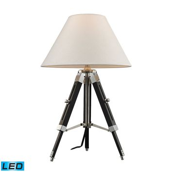 Studio LED Table Lamp In Chrome And Black With Woven Linen Shade