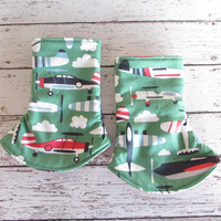 Green Airplanes Corner Suck Pads to match Kinderpack - Reversible Drool Pads - Suck Pads - RTS