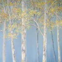 Aspen tree art,Birch tree art,Blue yellow art,Large canvas art,Large wall art,Blue yellow decor,Yellow blue painting,original painting 12x48