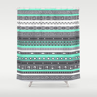 Tiffany Turquoise Aztec Print Shower Curtain by RexLambo