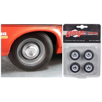Wheel and Tire Set of 4 from 1970 Yenko Nova Dog Dish 1/18 by GMP