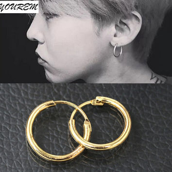 trendy three sizes small cute hoop earrings for unisex women men fashion classic earring alloy gold platinum plated fj346