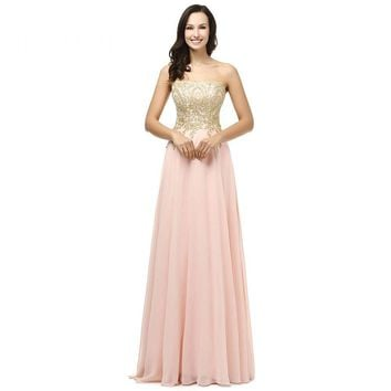 Strapless A Line Appliques Pink Beaded Long Prom Dresses Floor Length Lace Up Prom Dress