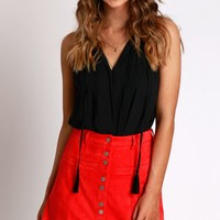 Suede Button Skirt Poppy