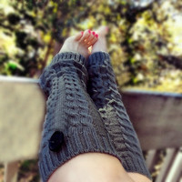 Charcoal Gray Leg Warmers, Cable Knit legwarmers