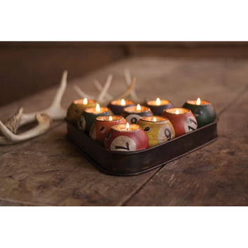 Kalalou CMX1023 Multi-Colored Tin Pool Ball Candle Holder Set