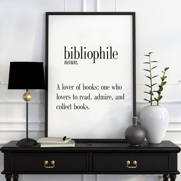Definition of Bibliophile Funny wall art Typography Print Funny Poster Name Definition Art Minimalist Art Art Print Instant Download Print