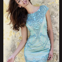 Cap Sleeved Boat Neckline Formal Prom Gown By Sherri Hill 11162