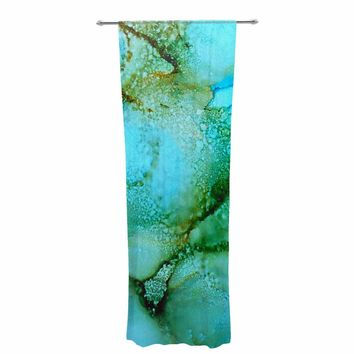 "Carol Schiff ""Sea Garden"" Teal Green Abstract Contemporary Painting Watercolor Decorative Sheer Curtain"