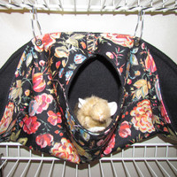 Calzone Pouch Hammock, For Pet Rats, Sugar Gliders, Guinea Pigs, Hedge Hogs, w/Metal Latches,  Floral Delight