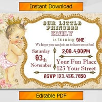 Editable 1st Birthday invitation, Vintage Baby, Antique Vintage Girl invite, Instant Download etsy invite C029-1