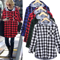 Christmas Plaid Hooded Plus Size Coat