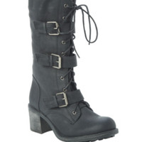 Black Three Buckle Strap Combat Boot