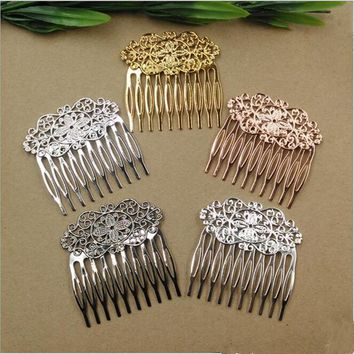 Copper Vintage 10 Teeth Hair Combs Jewelry Charm Women Flower Hairpin Hairclips Barrettes Retro Hair Wear Accessories DIY Z374