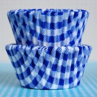 Mini Blue Gingham Baking Cups